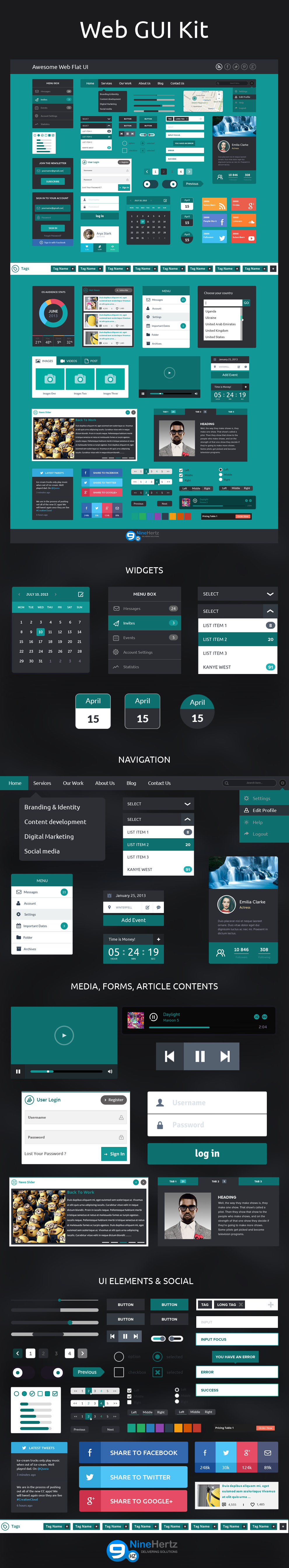 Web Flat Design UI Kit