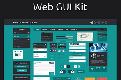 flat design web ui kit w3iscool
