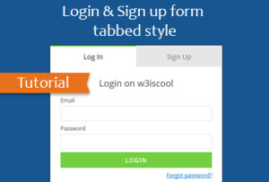 Login and sign up form tab style