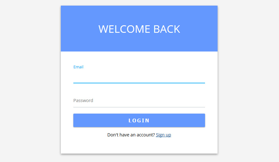 Login Form In Material Design With HTML And CSS Wiscool - Google form design template